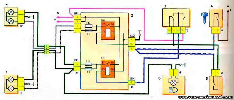 Схема проводки головных фар УАЗ Патриот