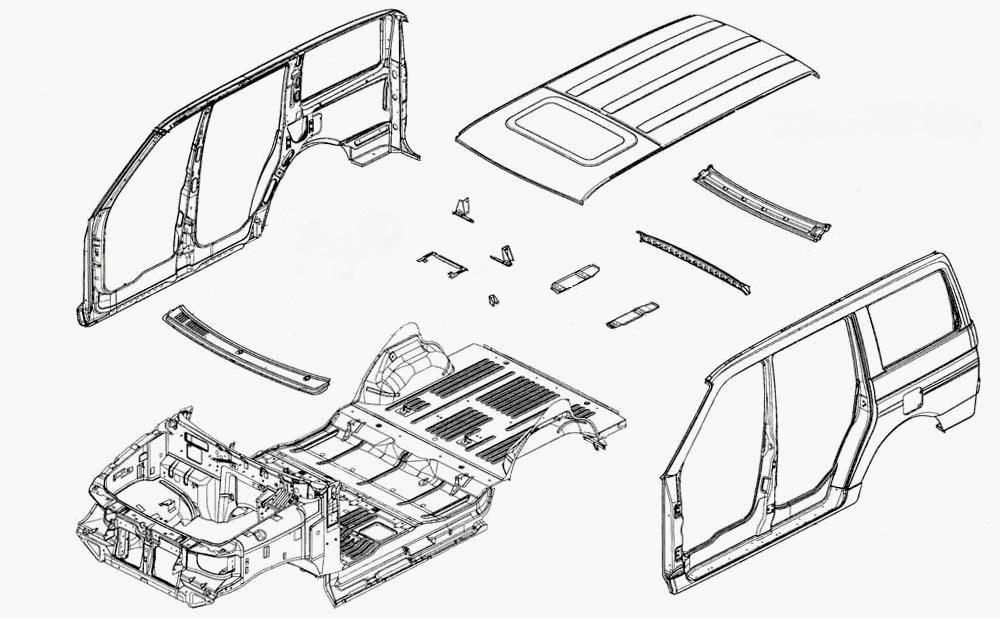 Схема расположения основных элементов кузова