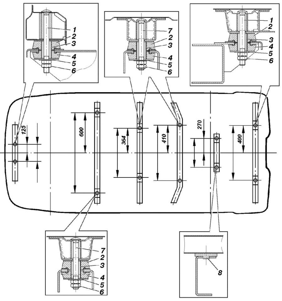 Схема расположения проставок