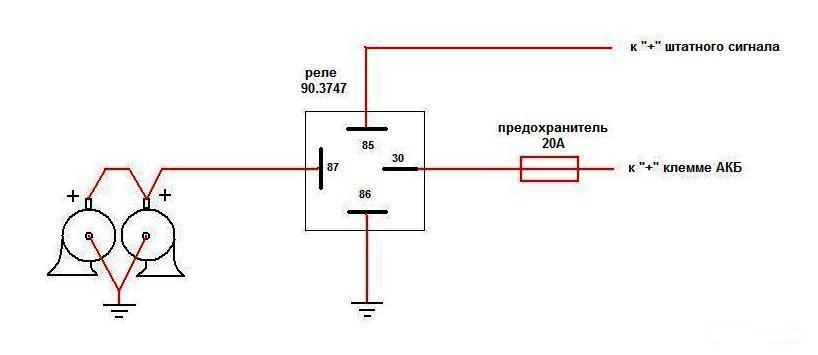 Схема подключения сигналов с реле