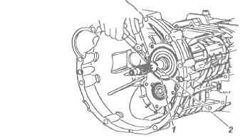 Процесс снятия стопорного кольца и подшипника первичного вала